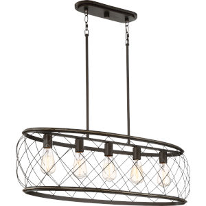 Dury Palladian Bronze Five-Light Linear Pendant
