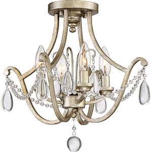 Regent Vintage Gold Four-Light Semi Flush Mount