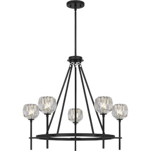 Regalia Matte Black Five-Light Chandelier