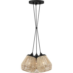 Romain Earth Black 15-Inch Three-Light Pendant