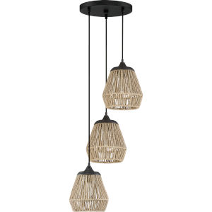 Romain Earth Black 14-Inch Three-Light Pendant