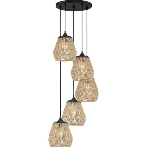 Romain Earth Black Five-Light Pendant