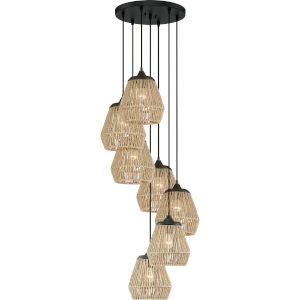 Romain Earth Black Seven-Light Pendant