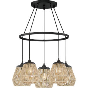 Romain Earth Black Five-Light Chandelier