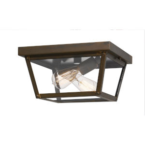 Rue De Royal Industrial Bronze Two-Light Outdoor Flush Mount