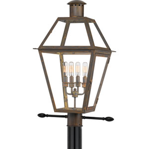 Rue De Royal Industrial Bronze Four-Light Outdoor Post Mount