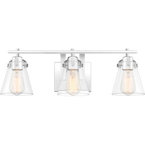 Sabine Polished Chrome Three-Light Bath Vanity with Transparent Glass