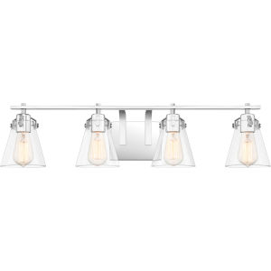 Sabine Polished Chrome Four-Light Bath Vanity with Transparent Glass