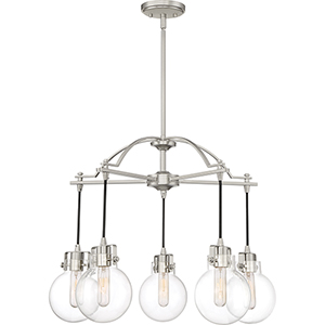 Sidwell Brushed Nickel Five-Light Chandelier