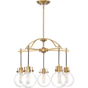 Sidwell Weathered Brass Five-Light Chandelier