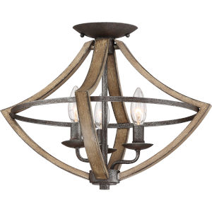 Shire Rustic Black Three-Light Semi Flush Mount