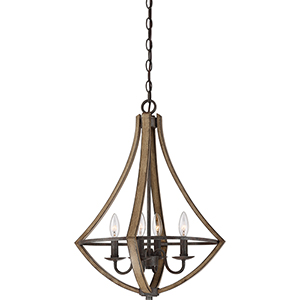 Shire Rustic Black Four-Light Chandelier