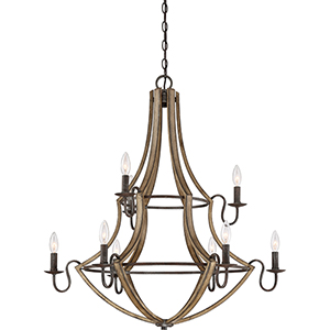 Shire Rustic Black Nine-Light Chandelier