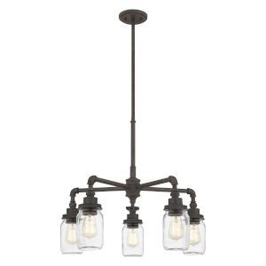 Squire Rustic Black Five-Light Chandelier