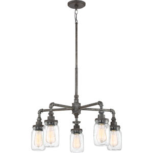 Squire Rustic Black 26-Inch Five-Light Chandelier