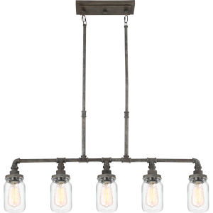 Squire Rustic Black 38-Inch Five-Light Island Pendant