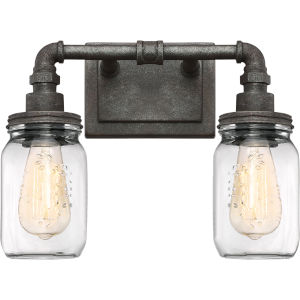 Squire Rustic Black 14-Inch Two-Light Bath Light