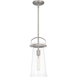 Stella Antique Nickel 7-Inch One-Light Mini Pendant with Clear Glass
