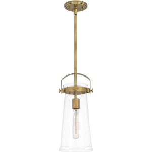 Stella Weathered Brass 7-Inch One-Light Mini Pendant with Clear Glass