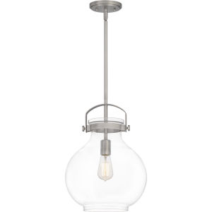 Stella Antique Nickel 12-Inch One-Light Pendant with Clear Glass