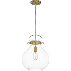 Stella Weathered Brass 12-Inch One-Light Pendant with Clear Glass