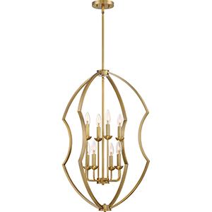 Stately Weathered Brass Eight-Light Pendant