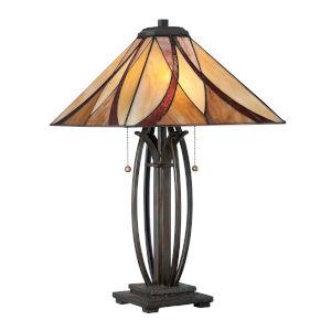 Tiffany Bronze Two-Light le Tiffany Table Lamp