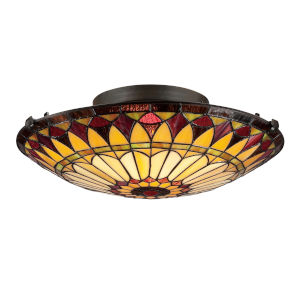 Louis Tiffany Vintage Bronze 6-Inch Two-Light Flush Mount