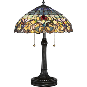 Tiffany Vintage Bronze 23-Inch Two-Light Table Lamp