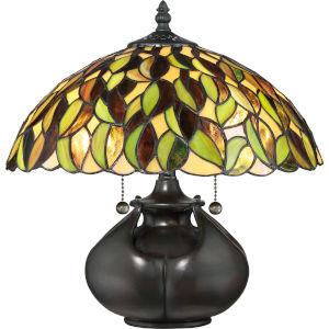 Tiffany Valiant Bronze 15-Inch Two-Light Table Lamp