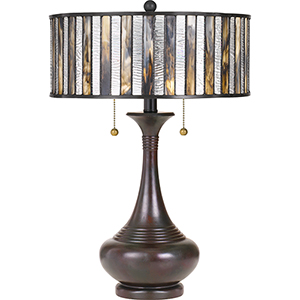 Tiffany Valiant Bronze 22-Inch Two-Light Table Lamp