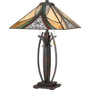 Tiffany Earth Black Two-Light Table Lamp