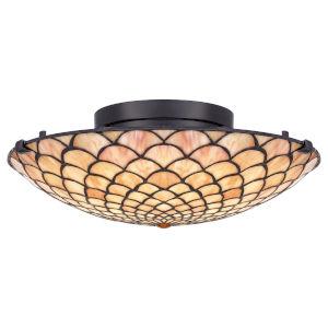Tiffany Matte Black LED Flush Mount