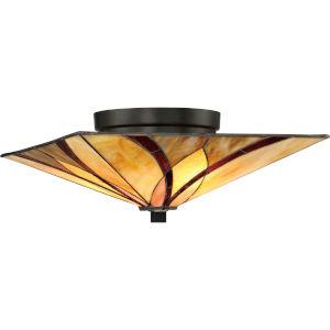 Asheville Valiant Bronze 15-Inch Two-Light Flush Mount