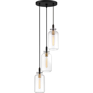 Teagan Earth Black 12-Inch Three-Light Pendant