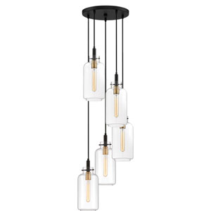 Teagan Earth Black 16-Inch Five-Light Pendant