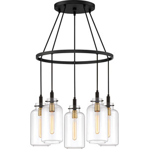 Teagan Earth Black Five-Light Chandelier