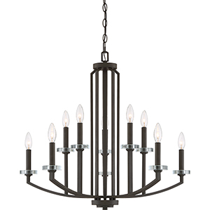 Transit Old Bronze Ten-Light Chandelier