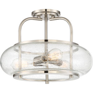 Trilogy Brushed Nickel Three-Light Semi-Flush Mount