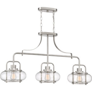 Trilogy Brushed Nickel Three-Light Linear Pendant