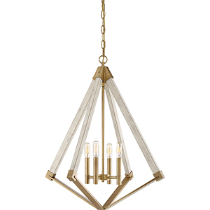 View Point Weathered Brass Four-Light Pendant