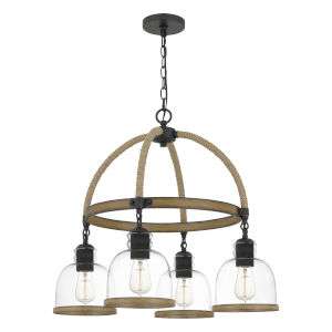 Wagner Matte Black Four-Light Chandelier