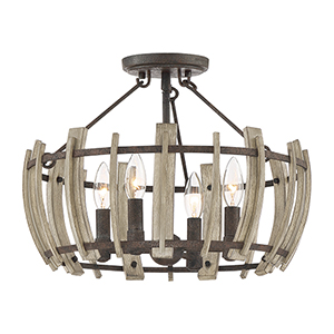 Wood Hollow Rustic Black Four-Light Semi Flush Mount