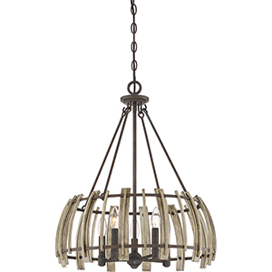 Wood Hollow Rustic Black Five-Light Pendant
