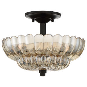 Whitecap Mottled Cocoa Three-Light Semi-Flush Mount