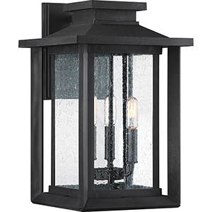 Wakefield Earth Black Three-Light Outdoor Wall Sconce