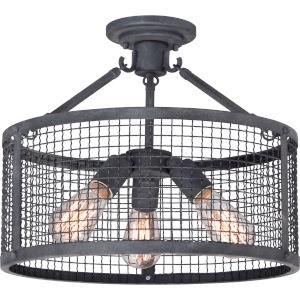 Wilder Mottled Black Three-Light Semi-Flushmount