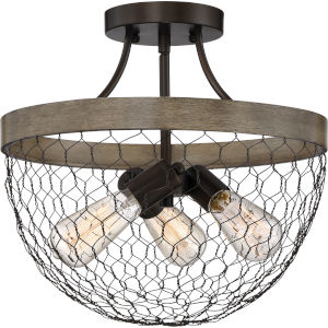Willowstone Classic Grey and Wood Three-Light Semi Flush Mount