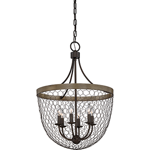 Willowstone Classic Grey and Wood Six-Light Pendant