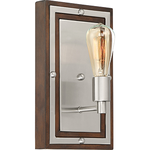 Westerly Brushed Nickel and Wood One-Light Wall Sconce